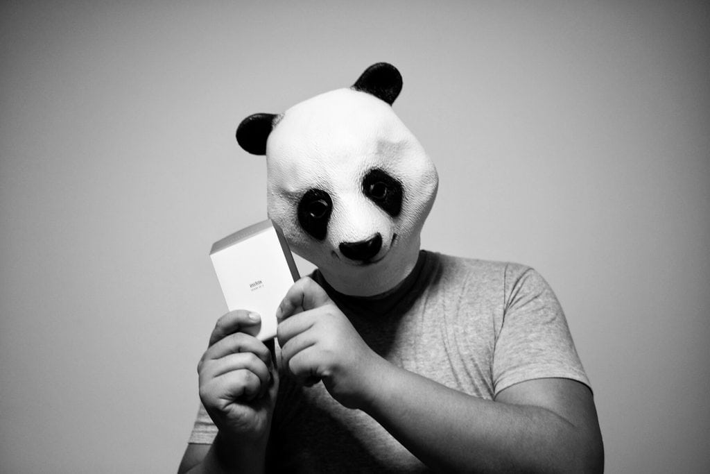 panda man holding on the Fujifilm Instax Share Smartphone Printer SP-2
